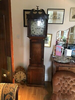 old longcase clock oak body just under 7 feet tall needs attention