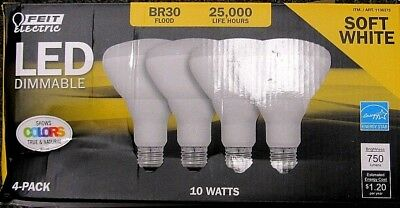 4 x Feit Electric BR30 Flood Soft White 2700K Dimmable LED 11.5W//65W Replacement