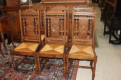 Set of 6 French Antique Brittany Solid Oak Wood Chairs w. Rush Seat & Carvings