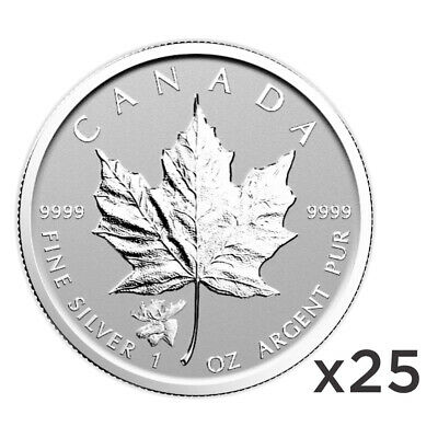 Lot of 25 x 1 oz 2017 Canadian Maple Leaf Moose Privy Reverse Proof Silver Coin