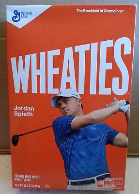 Opened 2017 Jordan Spieth WHEATIES CEREAL Box (top intact) shipped in box