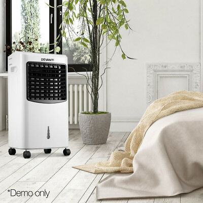 Devanti Portable Air Cooler Humidifier Conditioner AC Cooling Fan Dust Filter