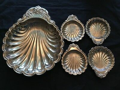 SET 5 Pieces LEONARD Hong Kong SILVER PLATED SCALLOP SHELL TRAYS SERVING DISHES