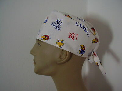 Surgical Scrub Tieback Hat/Cap- University of  Kansas - KU - White - one size