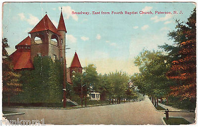 AK US USA Post Card Broadway East from Fourth Baptist Church Paterson gel. 1908