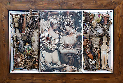 ATHENA ARTEMIS Ceramic Wall Sculpture Painting Framed Hanging in Relief HANDMADE