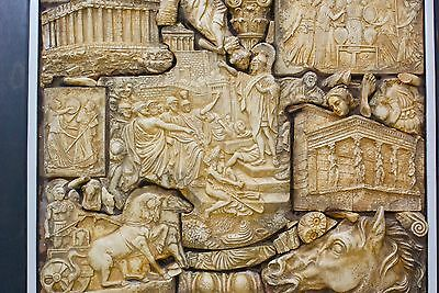 *history Of Greece* In A Framed Wall Sculpture Hanging Greek Figurines In Relief