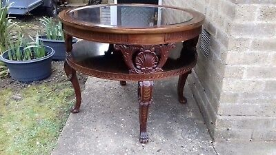 Mahogany carved, round table