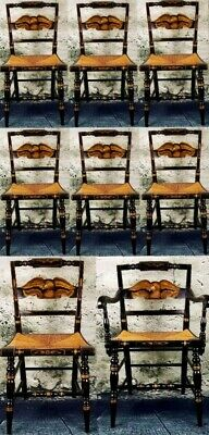 Set of 8 Genuine Hitchcock Chairs EAGLE Design + Candle Table - EXTRAORDINARY