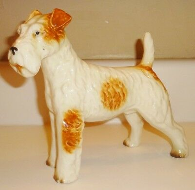 Vintage Japan Porcelain Ceramic Wire Fox Terrier Dog Figure