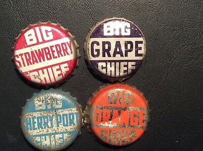 4  Different   Big Chief    Soda  Bottle Caps  - used  -   Cork  Lined