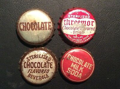4  Different  Chocolate   Soda  Bottle Caps  - used  -   Cork  Lined