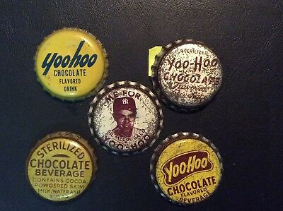 5  Different  Yoo - Hoo and Chocolate Soda  Bottle Caps  - used  - Cork  Lined