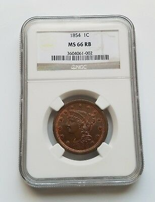 1854 Braided Hair Cent - NGC MS66RB