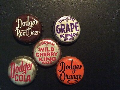 5  Different  Dodger   Soda  Bottle Caps  - used  - Cork  Lined