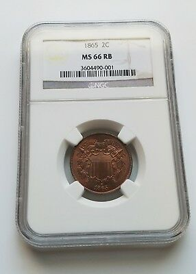 1865 Two Cent Piece - NGC MS66RB