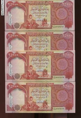 100,000 NEW CRISP IRAQI DINAR UNCIRCULATED CURRENCY 4 x 25,000 25000