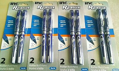 New Look! Inc R-2 Comfort-Grip Rollerball Pens 0.7mm BLUE Ink, 4 Packs of 2 Pens