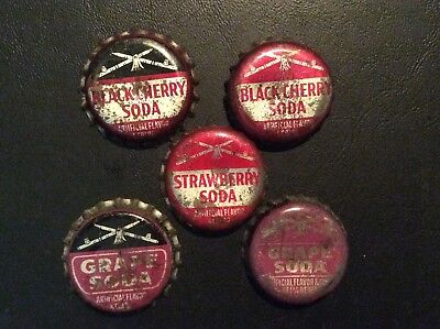 5  Different   Mohawk Valley  Soda  Bottle Caps  - used  - Cork  Lined