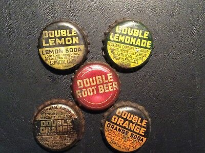 5  Different   Double   Soda  Bottle Caps  - used  - Cork  Lined