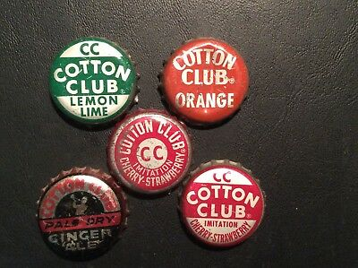 5  Different   Cotton Club   Soda  Bottle Caps  - used  - Cork  Lined