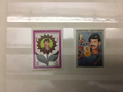 2 x Sadam Hussein Briefmarken Republik of Iraq