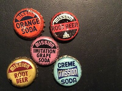 5  Different   Mission    Soda  Bottle Caps  - used  - Cork  Lined