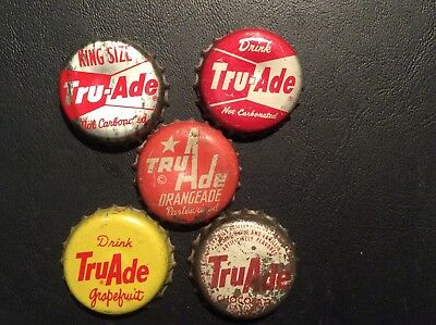 5  Different   Tru - Ade    Soda  Bottle Caps  - used  - Cork  Lined