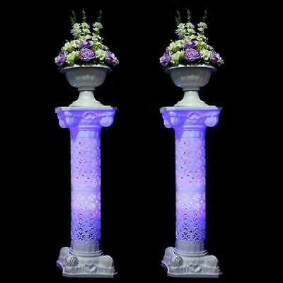 "4 pcs WHITE 41"" tall Wedding Roman Empire Columns with LED Lights Decorations"