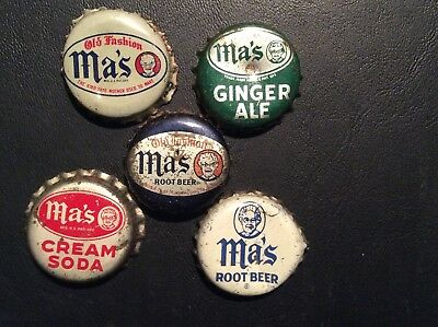 5  Different   Ma's   Soda  Bottle Caps  - used  -   Cork  Lined