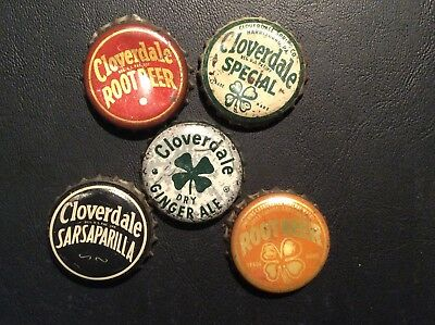5  Different    Cloverdale  Soda  Bottle Caps  - used  -  Cork  Lined