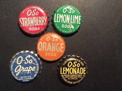 5  Different    O - So   Soda  Bottle Caps  - used  -  Cork  Lined