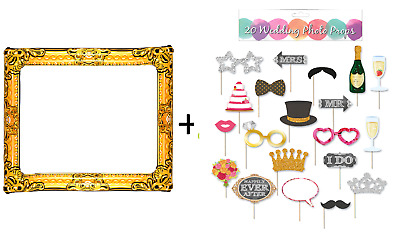 WEDDING PHOTOBOOTH PROPS + Inflatable Gold Photo Frame Party Selfie Booth