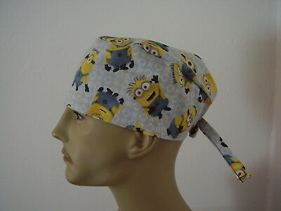 Surgical Scrub Cap/Hat - Minions on Gray -Handmade- One size -Men Women