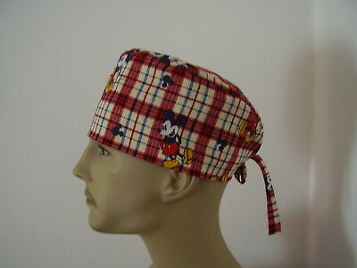 Surgical Scrub Cap/Hat -Mickey Mouse -Red White Blue  Plaid  One size -Men Women