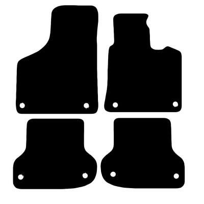 Tailored Black Car Floor Mats Carpets 4pc Set with Clips for Audi A3 Sportback