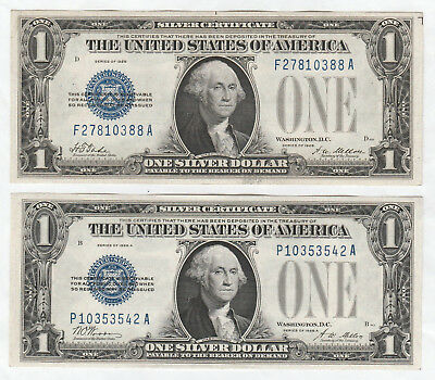 Nice set of 4 $1 Silver Certificates 1928 (A, B, and Plain) and 1934--Funnyback