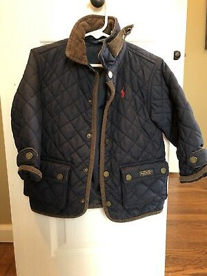 Polo Ralph Lauren Toddler Boys Size 2/2T Long Sleeve Navy Blue Quilted Jacket