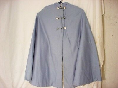 "Vtg Blue Women's WOOL Cape Cream Lining NURSE Jacket Coat Hood Tassel 31"" Long"