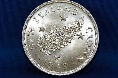 1949 New Zealand One Crown Silver Coin High Grade