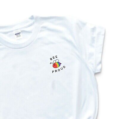 Bee Proud LGBT Rainbow Gay Pride Tee White Cute T Shirt Love Equal Rights Trans