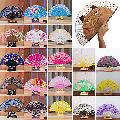 2018 Lady Spanish Style Silk Lace Folding Hand Held Fan Wedding Dance Party Lot