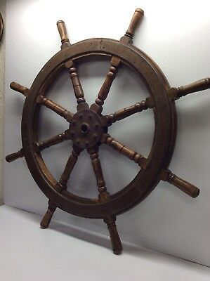 Antique Authentic Ships Wheel Ship Wood And Brass Steering Rudder Nautical P4