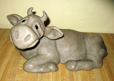 "Quarry Critters Rare Large Charity Cow Figurine Second Nature dtd 2000 12"" long"