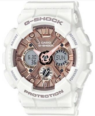New Casio G-Shock Gmas120Mf-7A2 S-Series Rose Gold/white Ana-Digi Watch Nwt!!!