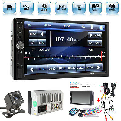 """2 DIN 7"""" Car Video Player MP5 MP3 FM Bluetooth Touch Screen Stereo Radio +Camera"""