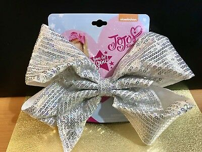 JoJo Siwa Hair Bow Clip Large Siver Sequence Cheer Bow Girls' Nickelodeon NEW
