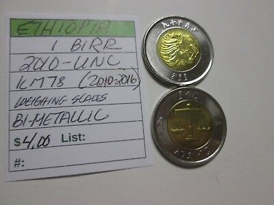Single coin from ETHIOPIA, 1 birr, 2010 unc, Km 78 (2010-2016), Weighing Scales