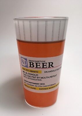 Prescription Drink Rx Pint Glass Beer Soda Can Funny Gag Gift Home Kitchen