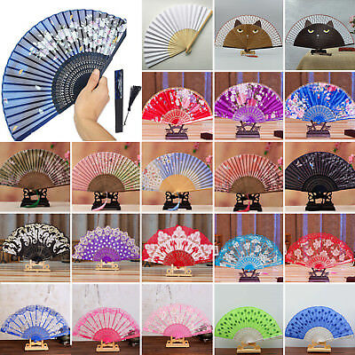 New Chinese Style Dance Wedding Party Lace Silk Folding Hand Held Flower Fan Lot